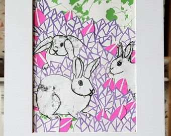 Field of rabbits collage, original print collage.
