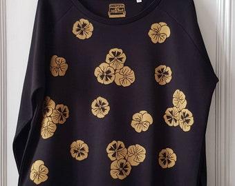 All over pansy print sweatshirt, women's handprinted sweatshirt.