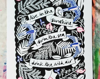 Inspirational quote print, original print collage, live in the sunshine emerson quote print.