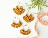 Mustard macrame earrings, bohemian jewelry, fringe, boho statement earrings, girlfriend gift, gypsy earrings, long dangle earrings