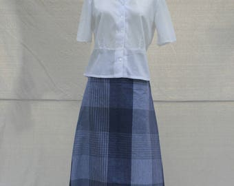 Blue and White Cotton Plaid Skirt