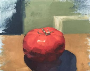 "Original Art, Original Oil Painting, Wall Art, Wall Decor, Home Decor, Original Still Life Painting, Food, ""Juicy Tomato"", 8x10 inch"