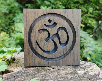 Reclaimed Wood Mahogany Om Symbol Plaque - Weathered Blue Stain