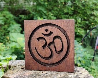Reclaimed Wood Mahogany Om Symbol Plaque - Mahogany Stain