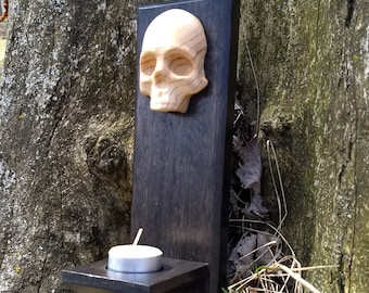 Reclaimed Wood Mahogany and Doug Fir Skull Tea Light Candle Holder Wall Plaque-Beeswax Tealight included!
