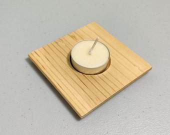 Natural Wood Tealight Candle Holder and Beeswax Tealight