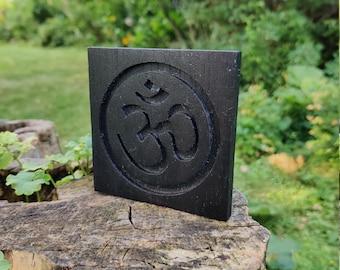 Reclaimed Wood Mahogany Om Symbol Plaque - Ebony