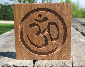 Reclaimed Wood Mahogany Om Symbol Plaque - Natural