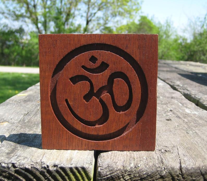Reclaimed Wood Mahogany Om Symbol Plaque  Deep Red image 0