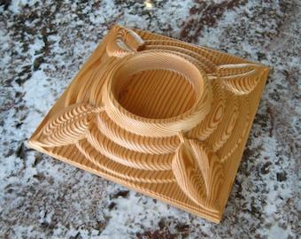 Reclaimed Wood Douglas Fir Square Base and Leaf Candle Holder - Natural