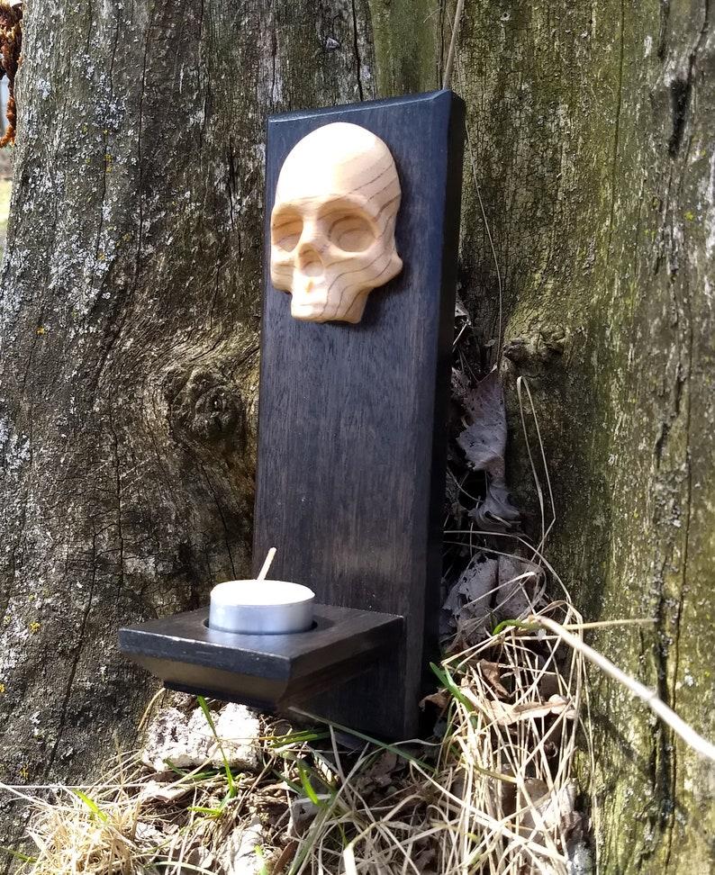 Reclaimed Wood Mahogany and Doug Fir Skull Tea Light Candle image 0
