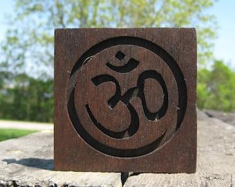 Reclaimed Wood Mahogany Om Symbol Plaque - Dark Brown