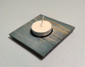 Blue Tealight Candle Holder and Beeswax Tealight
