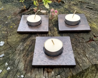 3 Reclaimed Deep Brown Stained Mahogany Tealight Candle Holders with 100% Beeswax Tealight Candles included-Also Free Shipping!