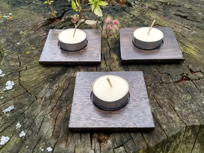 3 Reclaimed Deep Brown Stained Mahogany Tealight Candle image 0