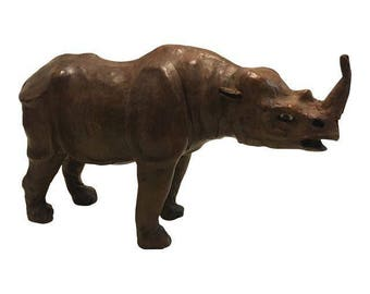 Vintage Leather Rhino Figurine