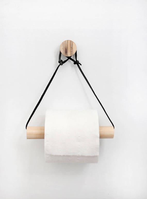 Moderne Toilettenpapierhalter Holz Leder Badezimmerzubehör