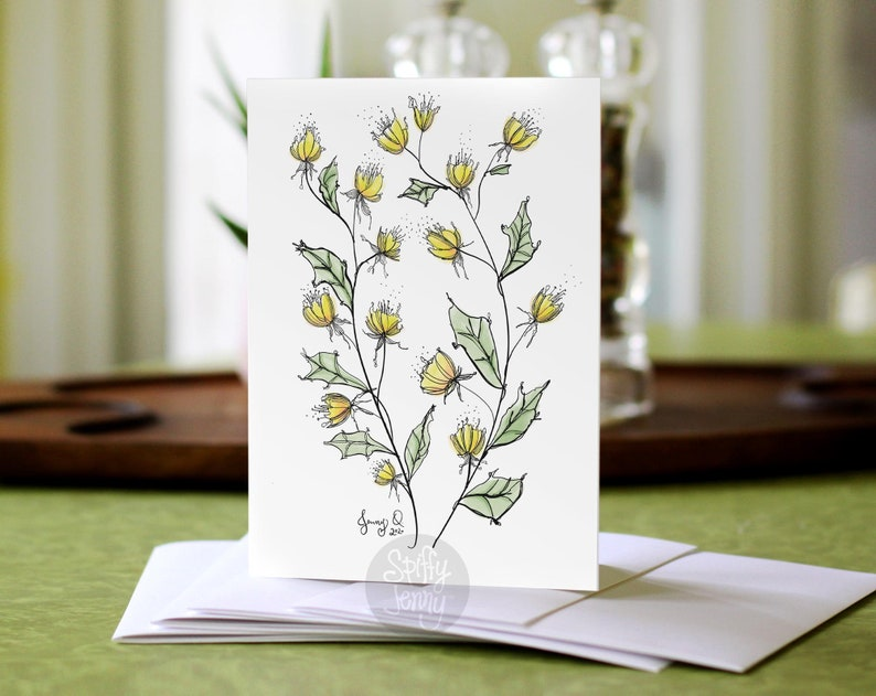 Yellow and Peach Floral 5x7 Note Card 5 Pack