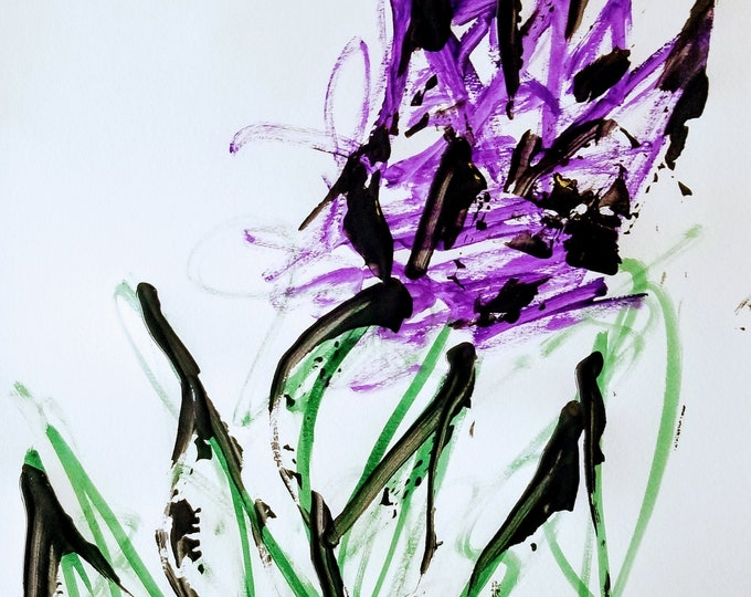 Purple Flowers - Abstract Watercolor and Acrylics by Trey Coppland