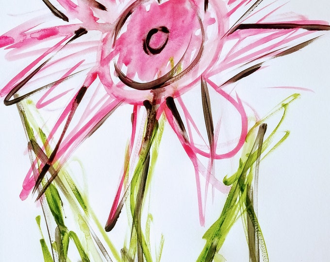Pink Flower - Abstract Watercolor Art, by Trey Coppland