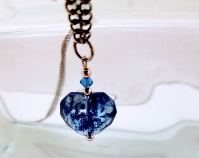 Jewelry, Necklace, Blue Heart Necklace, Silver Chain, Thirty-Five Inches Long, Trey Coppland Designs, Jewelry for Sale, Trey's Jewelry, Arte