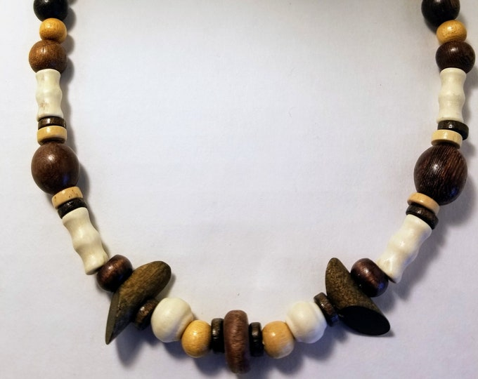 Jewelry, Necklace, Beaded Jewelry, Beaded Necklace, Wood Beads, Nut Beads, Trey Coppland Designs, One of a kind Jewelry, Jewelry for Sale
