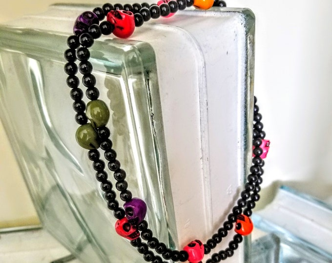 Jewelry, Skull Jewelry, Necklace, Beaded Necklace, Beaded Jewelry, Beaded Skulls, Neon Colored Skulls, Fashion Jewelry, Style, Skull Fashion