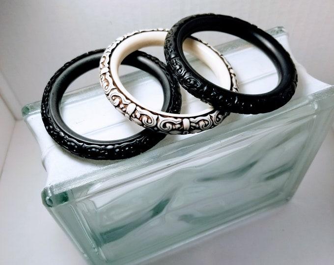 Jewelry, Bracelets, Set of Three, Two Black, One White, Trey Coppland Designs, One of a kind Jewelry, Jewelry for sale, Black n White Jewels