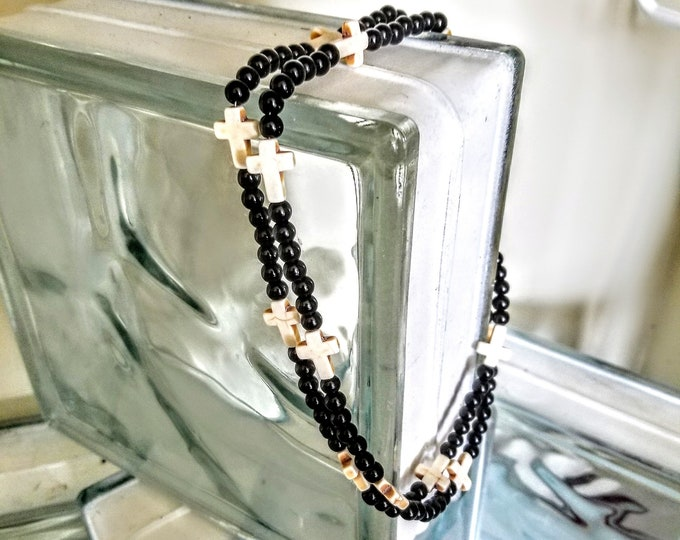 Jewelry, Necklace, Beaded Jewelry, Beaded Necklace, Cross Charms, Black Beads, White Crosses, Trey Coppland Designs, Religious Jewelry