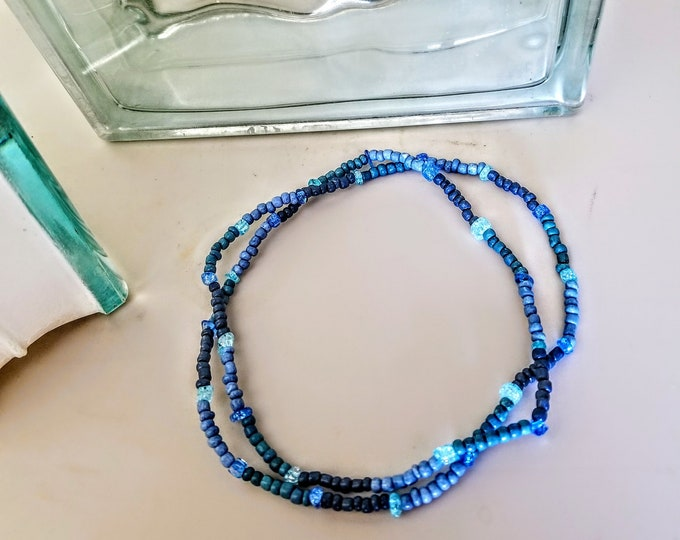 Jewelry, Necklace, Beaded Jewelry, Beaded Necklace, Blue Beads, Glass Beads, Trey Coppland Designs,