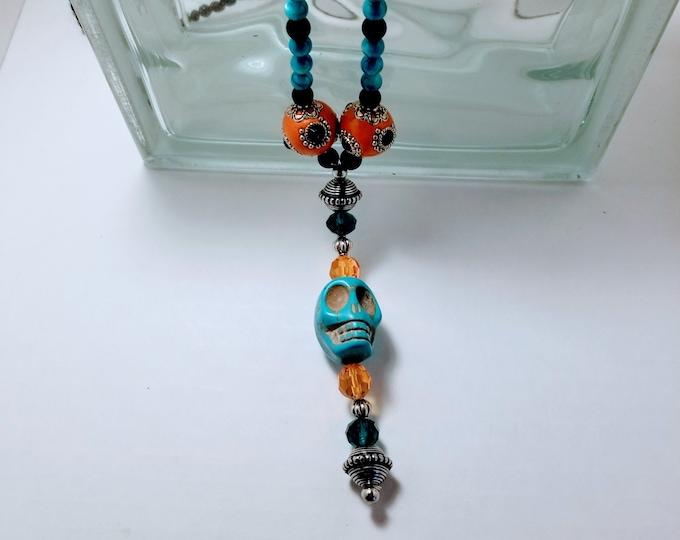 Voodoo Necklace, Skull Jewelry, Jewelry, Necklace, Beaded Jewelry, Beaded Necklace, Blue Skull Necklace, Trey Coppland Designs, Jewelry Sale