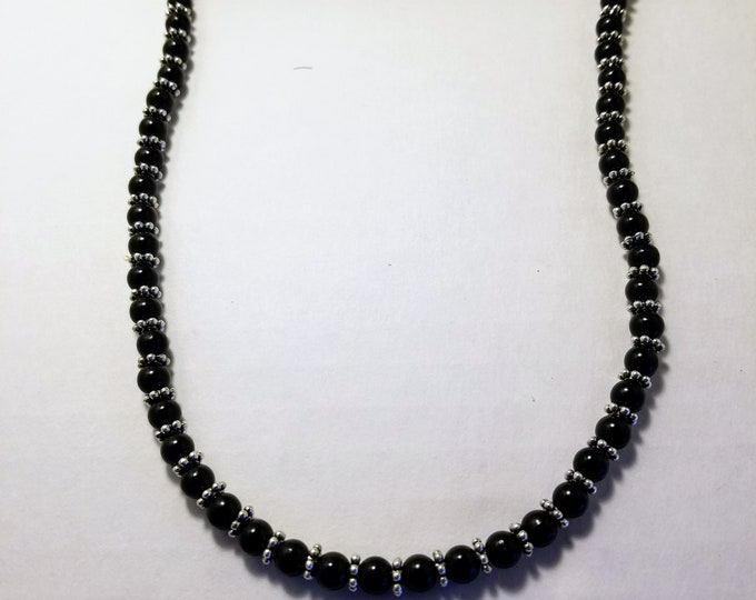 Jewelry, Mens Fashion, Unisex Jewelry, Womens Wear, Necklace, Black Beads, Silver Beads, Trey Coppland Designs, One of a kind Jewelry Design