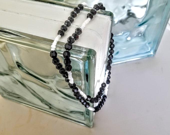 Jewelry, Necklace, Beaded Jewelry, Beaded Necklace, Trey Coppland Designs, Black Beads, White Beads, Plastic Beads, Artistic Jewelry,