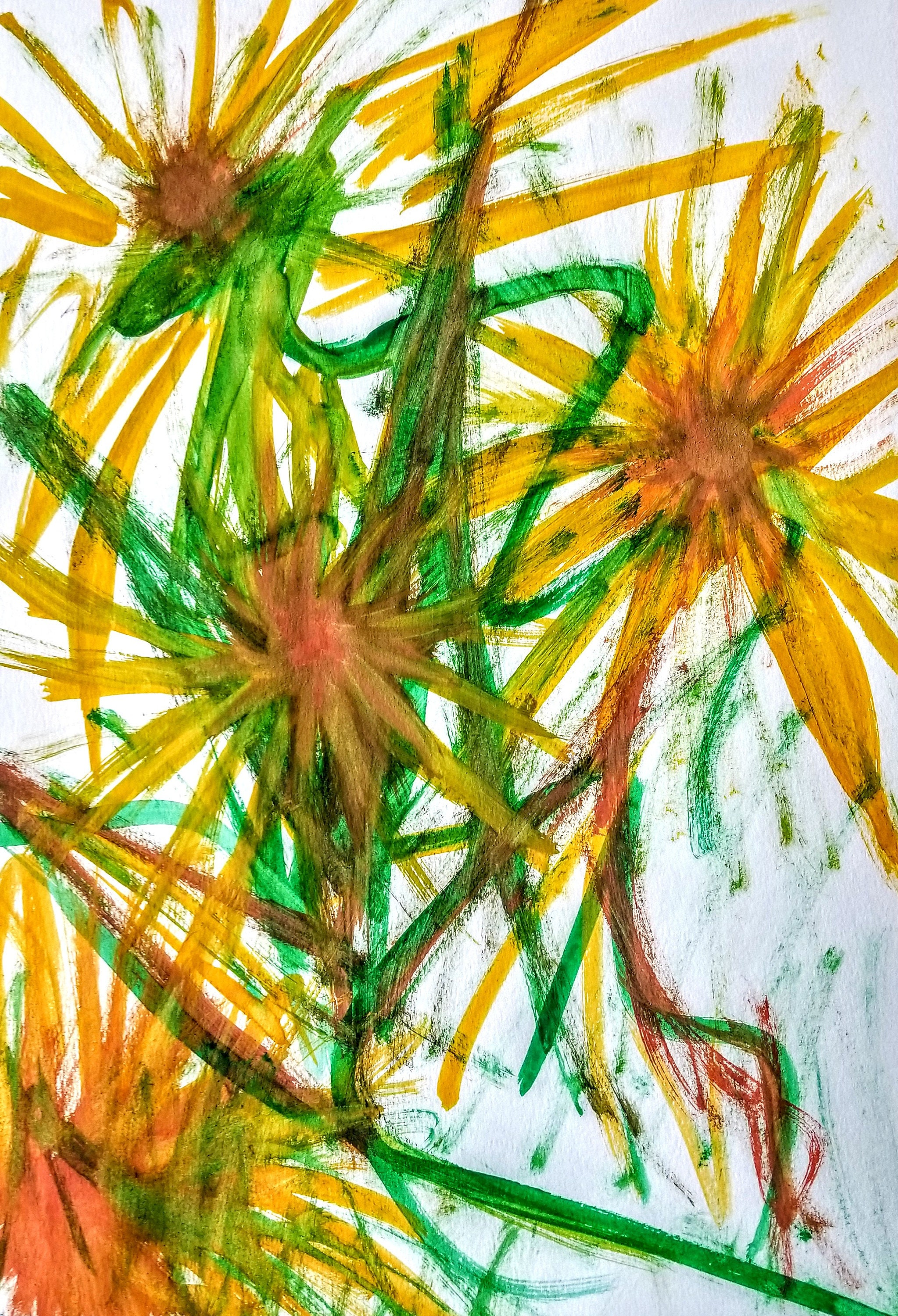 Abstract Sunflowers #14 - Art, Artwork, Abstract, Wall Art, Home ...