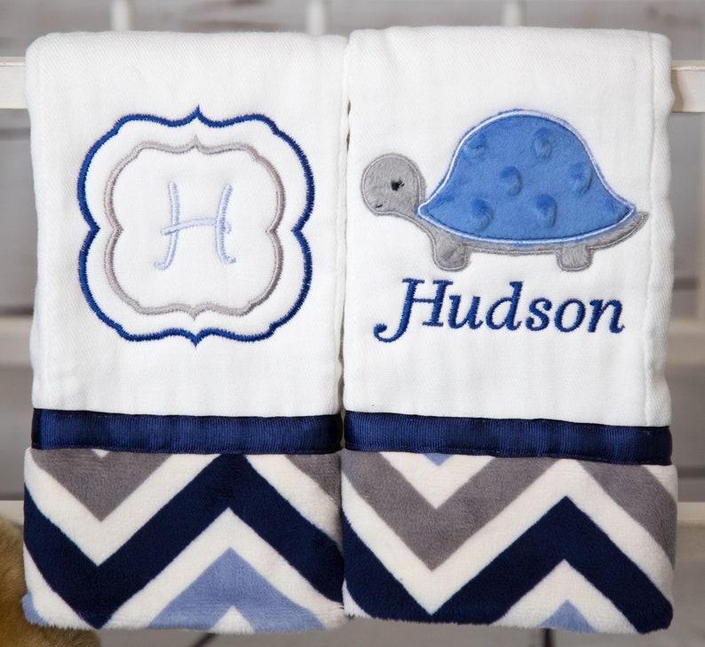 Chevron Blanket Custom Baby Blanket Turtle Crib Bedding Personalized Minky Baby Blanket Turtle Baby Blanket Personalized Baby Blanket