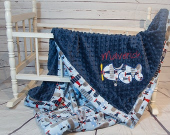 Airplane baby gift etsy personalized baby blanket airplane blanket baby minky blanket airplane baby blanket airplane negle Gallery