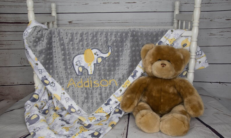 Personalized Baby Blanket Custom Baby Blanket Personalized Minky Baby Blanket Elephant Baby Blanket