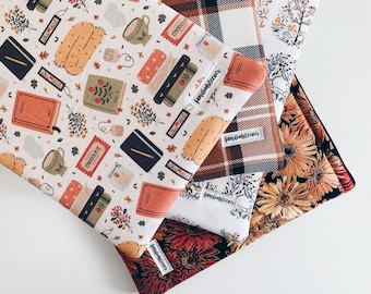 fall themed book sleeves with zippers | sleeves | bookish accessories | zipper book sleeves | book sleeves