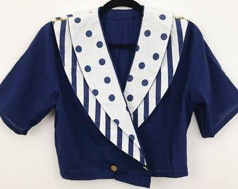 VINTAGE sailor type cropped blazer - small