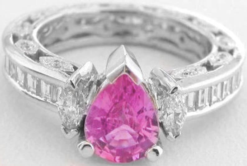 Fine Gemstone Rings ring 14KT White Gold Pear Shape 1.40CT Natural Pink Tourmaline Anniversary Ring