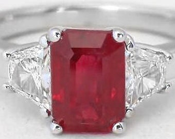 Genuine Burmese Ruby Ring, Emerald Cut Ruby, Trapezoid Diamonds, 14k white gold, Past Present Future, Exceptional Ruby Ring