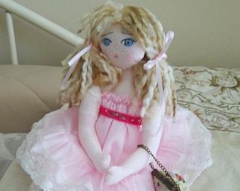 French rag doll, Farfalous doll, boudoir doll, old-fashioned cloth doll
