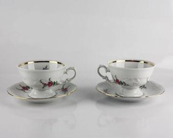 Vintage Royal Kent Bone China Tea Cup & Saucer Set of 2, Pink Rose Pattern Porcelain Dish, RKT23 Royal Kent Poland, Tea Party, Formal Dining