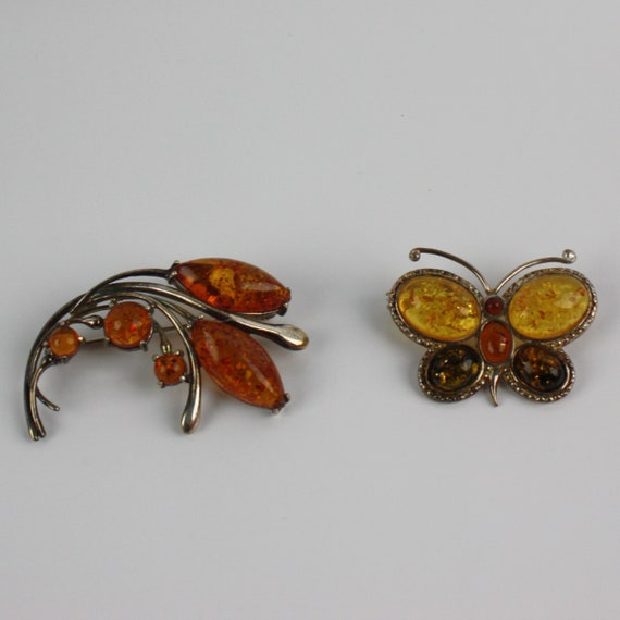 Vintage Genuine Amber Sterling Silver 925 Stamped Brooch Set of Two Butterfly Brooch and Scrolling Abstract or Leaf Brooch