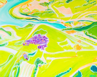Spain Aerial I - Colorful Abstract Art - Paper Print