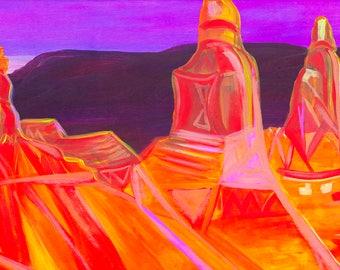 Sedona Canyon - Colorful Abstract Art - Paper Print