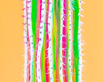 Saguaro - Colorful Abstract Art - Paper Print