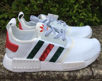 6a6d3b2e5f9d1 adidas nmd tri colore casual shoes gucci style paint print womens white  color athletic run sneakers