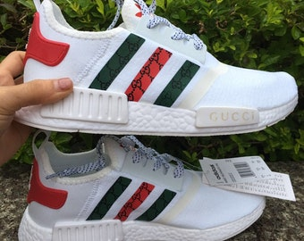new product a6aec ccf96 adidas nmd tri colore casual shoes gucci style paint print mens womens  white color athletic run sneakers