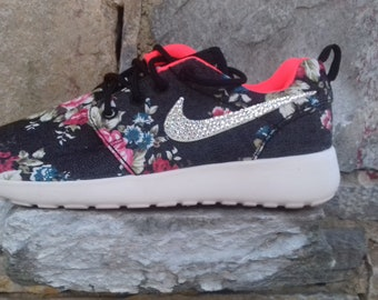 sports shoes fc9fa 4cf73 custom womens nike roshe run fabric floral black color shoe white sole with  no swarovski crystals